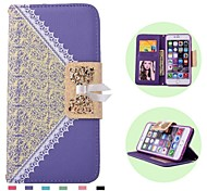 High Quality Lace with Butterfly Knot Pattern PU Leather Cover for iPhone 6S/6 (Assorted Colors)