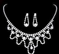 European Style Fashion Shiny Rhinestone Bridal Necklace Earring Sets