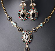 Retro Fashion Diamond  Eye-shaped  Pendant Necklace +Earrings  Jewelry Sets(3Pcs)