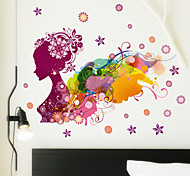 Fashion Colored Drawing Lady Flowers PVC Wall Sticker Wall Decals