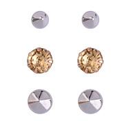 Fashion Rivet Crystal Stud Earrings Set (3 Pairs Per Set)