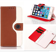 Wallet Dual Color Leather Pouch Credit Card Stand Mouse Lines Holster Purse Case For iPhone6 Plus/6S Plus