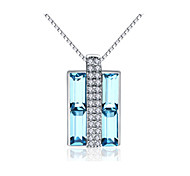 """Jazlyn® Platinum Plated 925 Sterling Silver Swaroski Crystal """"Lovers Box"""" Pendant Women's Men's Couples' Necklace"""