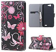 fleurs papillons en cuir magnétique cas de couverture de livre portefeuille de sac à main pour Huawei Ascend bascule g7