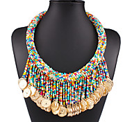 Women's Bohemian Style Brand Fashion Beaded Tassel Statement Necklace