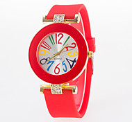 Woman's Watches Large Digital Dial Two Diamond Simple Silicone Watch