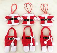 6 Pcs  Christmas Decorations Happy Santa Silverware Holders Pockets Dinner Decor festas