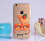 Yellow Feather Mask Pattern Transparent TPU Soft Case for iPhone 6/iPhone 6S