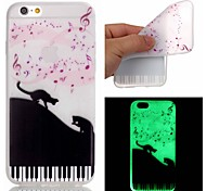 For iPhone 5 Case Glow in the Dark / Pattern Case Back Cover Case Cat Soft TPU iPhone SE/5s/5