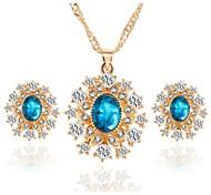 Hot 3 Color Fashion Flower Zircon Pendant Necklace Drop Earring Wedding Jewelry Set