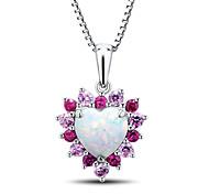 vrouwen hartvorm sterling zilver gezet met gecreëerd opa \ ruby \ roze saffier hanger met zilveren box ketting