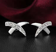 """Fashion """"X"""" 925 Siliver Zircon Stone Earring stud Earrings For Woman&Lady"""