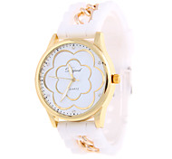Fashion Simple Gold Shell Flower Round Silicone Bracelet Strap Watch of Wrist of Movement of China(Assorted Colors)