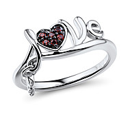 Love and Key Shape Sterling Silver set with Garnet Cubic Zirconia Women's Fashion Ring