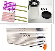 1Set Nail Tool Kit (15PCS Nail Pen+1PCS Nail Special Penholder+1PCS Nail Wash Pen Cup)