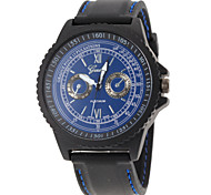 Men Fashion Design Black Rubber Band Quartz Watch
