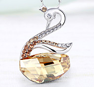 Platinum Plating, 26 Austrian Crystal, Swan Pendant Necklace