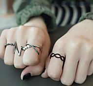 European Style Retro Exaggerated Fashion Lightning Ring Set
