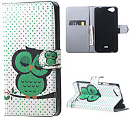 Sleeping Owl on the Branch  Card Holder Leather Stand Case for Wiko Rainbow Jam