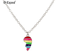 D exceed Girl Hot Sale New Half-heart Shaped Multicolored Enamel Thin Necklaces & Pendants Fashion Necklaces for Women