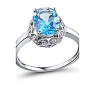 Women's Fashion Sterling Silver set with Blue Topaz and Diamond  Ring