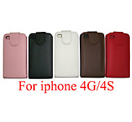 PU Leather up down flip mobile skin case Cover For iPhone 4/4S(Assorted Color)
