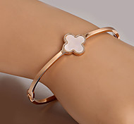 European  fashion titanium steel rose gold bracelet Clover Cuff Bracelets Wedding / Party / Daily / Casual 1pc