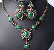 Retro Earrings Necklace  Wedding Jewelry Sets (3Pcs)