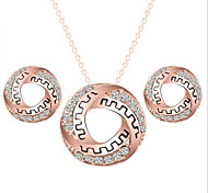 European Circle Necklace Earrings Set (1Set)