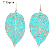 D Exceed Women New Alloy Silver Filled Drop Earrings for Party Green Leaf Shape Earing Free Shipping