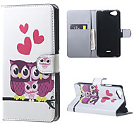 Owls and Hearts on the Branch  Card Holder Leather Stand Case for Wiko Rainbow Jam