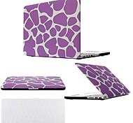 """2 em 1 leopardo roxo tampa da caixa de plástico rígido para MacBook Pro 13 """"/ 15"""" + tampa do teclado transparente"""
