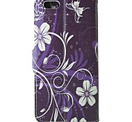 Purple orchid Pattern PU Leather Flip  Protective Case with Magnetic Snap and Card Slot for iPhone 5C