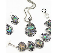 Vintage Antique Silver Man-made Abalone Stone Necklace Earring Bracelet Jewelry Set(1Set)