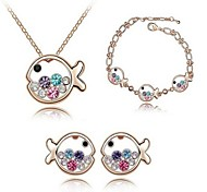 High Quality Crystal Lovely Fish Pendant Jewelry Set Necklace Earring (Assorted Color)