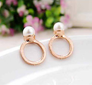 Korean Fashion Pearls Rose Gold Alloy Earring
