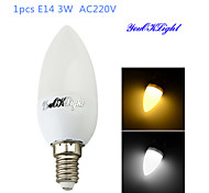 1PCS YouOKLight® E14 3W CRI=70 200lm 10-SMD2835 Warm White Light/Cool White Light LED Candle Bulbs(AC 220V)