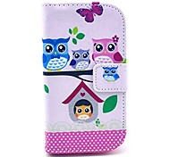 For Samsung Galaxy Case Card Holder / Wallet / with Stand / Flip / Pattern Case Full Body Case Owl PU Leather Samsung Style Duos