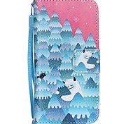 The New  Snow Strange Pattern PU Leather Material Flip Card Cell Phone Case for iPhone 6 /6S