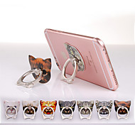 Cat Head Design Ring Metal Sticker Stand for Samsung and  iPhone(Random Color)