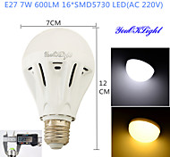 YouOKLight® 1PCS E27 7W 16*SMD5730 600LM White/ Warm White Light LED Energy saving High quality Globe Bulbs (AC 220V)