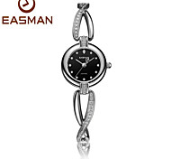 EASMAN Black Women Crystal Cross Bracelet Pearl Dial Quartz Watch Sapphire Glass Female Water Resistant Wristwatch Fashion Watch