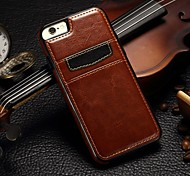 Für iPhone 5 Hülle Kreditkartenfächer Hülle Rückseitenabdeckung Hülle Einheitliche Farbe Hart Echtes Leder iPhone SE/5s/5