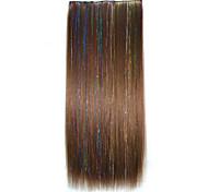 Clip de 22 pulgadas en las extensiones sintéticas del pelo recto con 5 clips 2m30 de color extensiones sintéticas de venta caliente.