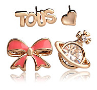 Fashion Elegant Bow Four Combinations of Stud Earrings for Woman Female Girl Ladie
