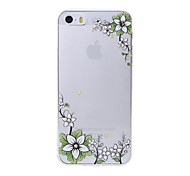Latest Diagonal White Plum Pattern Swarovski Diamond High Quality Laser Relief Touch Phone Case for iPhone 5 / 5S