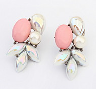 European And American Fashion Wild Beautiful  Leaves Pearl Stud Earrings