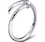 S925 Fine Silver Nail Shape Adjustable Ring Fine Jewelry