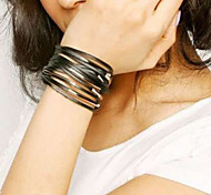 Fashionable Alloy Black and White Genine Leather Wristband Button Bracelet(1PC)