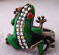 Vintage Crystal Alloy Little Frog Ring